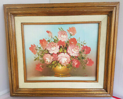 Pink Rose Floral Still Life Original Oil Painting by Robert Cox Wooden Frame