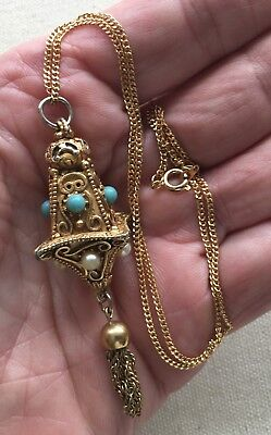 "Vintage Chinese Lantern Necklace Pendant Ornate Gold-Tone Tassel 18"" Asian Look"