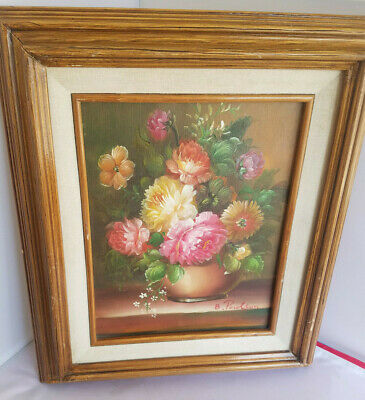 Vnt B. Poulson Signed Floral Flower Painting Still Life Mid Century Pink White