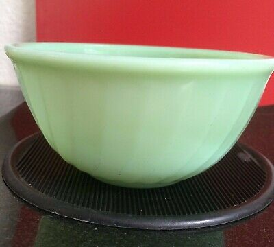 """1940's Vintage Fire-King Jadeite SWIRL Mixing Bowl • 6"""" HTF """"OVEN GLASS"""""""