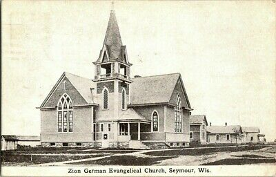 1914. SEYMOUR, WISCONSIN. ZION GERMAN CHURCH. POSTCARD s3