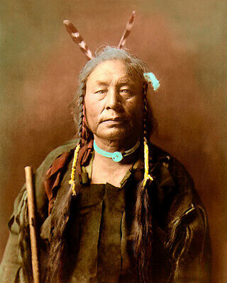 """EAGLE CHILD ATSINA GROS VENTRE PEOPLE 1908 8x10"""" HAND COLOR TINTED PHOTOGRAPH"""