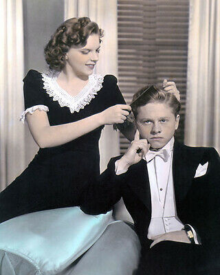 """JUDY GARLAND MICKEY ROONEY 1940 HOLLYWOOD ACTORS 8x10"""" HAND COLOR TINTED PHOTO"""
