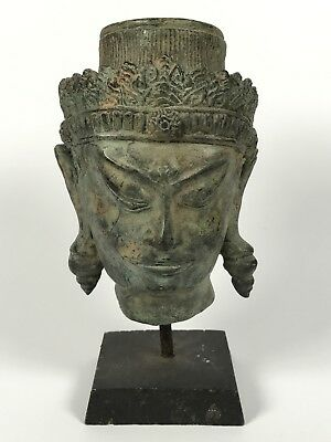 Chinese Art Bronze Buddha Head