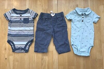 Baby Boys 6 Months Carters Blue Gray Striped Henley Bodysuits Pants Outfit Set