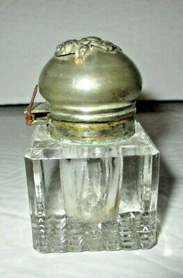Antique Glass Inkwell Silverplate Floral Rose Lid Cap Ink Pot Victorian Desk