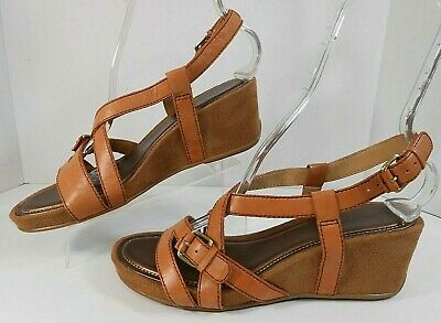 cacea81dac06 Naturalizer N5 Comfort PACO Women Wedge Sandals 9.5 M Leather Strappy Tan  Brown