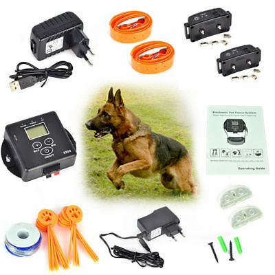 In-Underground Electric Dog Pet Fence System Shock Wireless Waterproof 2 Collars
