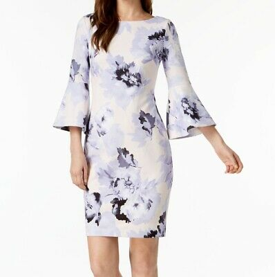 90525f7b Calvin Klein NEW Purple Womens Size 10 Floral-Print Sheath Dress $134- 427