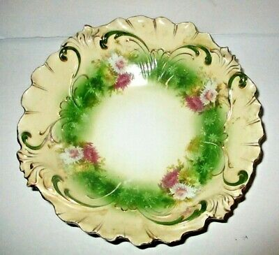 Antique RS Prussia Bowl Chrysanthemums Mums Embossed Mold Germany Porcelain