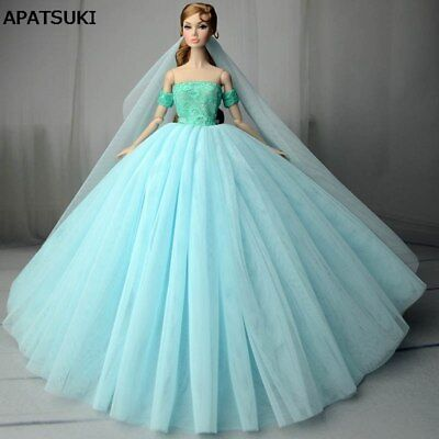 "Blue Wedding Dress for 11.5"" Doll Clothes Princess Evening Dresses Party Gown"