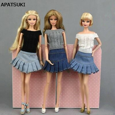 "Blue Jeans Casual Wear Clothes For 11.5"" Doll Kids Toy A-line Skirt For 1/6 Doll"