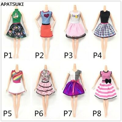 "8sets Causal Wear Fashion Clothes For 11.5"" Dolls Pink Princess Short Dress Toy"