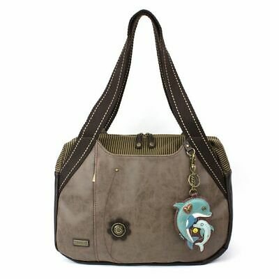 New Chala Handbag Bowling Zip Tote Shoulder Large Bag Pleather Grey Gray DOLPHIN