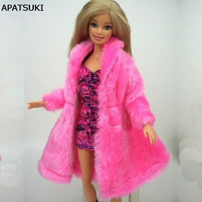 Kid Playhouse Toy Doll Accessories Winter Wear Pink Coat Clothes For 1/6 Doll