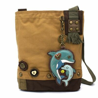 New Chala Messenger Patch Crossbody Brown Bag Canvas gift Coin Purse DOLPHIN
