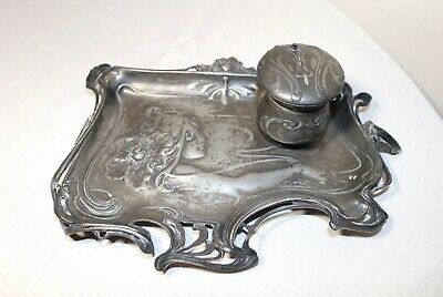 antique 1800's ornate Art Nouveau figural lady inkwell desk tray writing stand