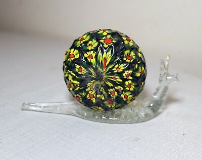 vintage hand blown Murano Venetian art glass figural snail statue paper weight