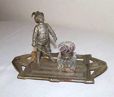 antique Art Deco figural boy nickel plate metal glass desk inkwell writing stand