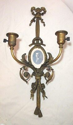antique Victorian ornate gilt bronze electric wall sconce picture frame brass