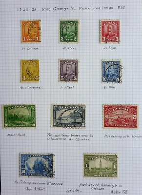 CANADA 1928-9  FULL SCROLL SET to 1 $ (PARLIAMENT BUILDINGS) ALBUM PAGE CAT.$154