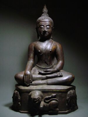 ANTIQUE BRONZE MEDITATING KAMPHAENG PHET BUDDHA, UTHONG INFLUENCE 19/20th C RARE