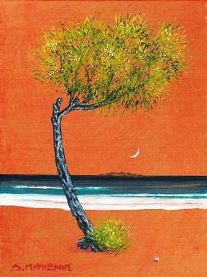 "Dimitris C. Milionis ""TREE IN GOLDEN SKY"" Small Painting Signed Greek 2011"