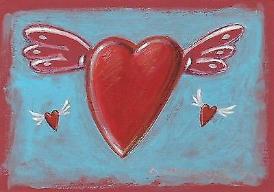 """FLYING RED HEARTS"" Signed Acrylic Painting Greek Painter 2005"
