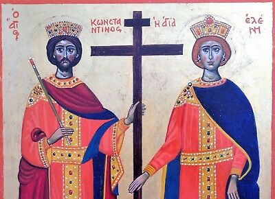 Constantine & Hellen - 22kt gold - Eggtempera Greek Icon on wood Signed 1992