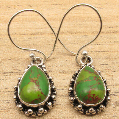925 Silver Plated Drop GREEN COPPER TURQUOISE Old Style Earrings OXIDIZED