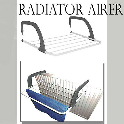 Radiator Towel / Clothes Folding Airer Dryer Drying Rack 5 Rail Bar Holder New