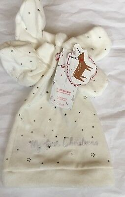 Mothercare 3-6 Months Baby Boys / Girls My First Christmas Hat, Mitts & Bootees