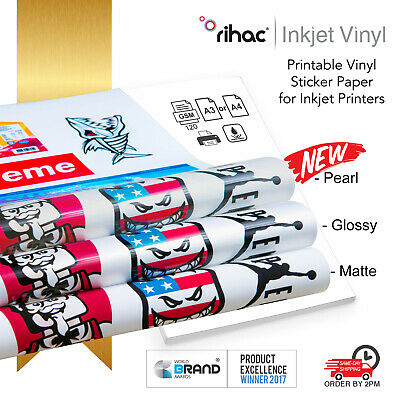Vinyl inkjet printable sticker sheets in white A4 and A3 media sizes by Rihac