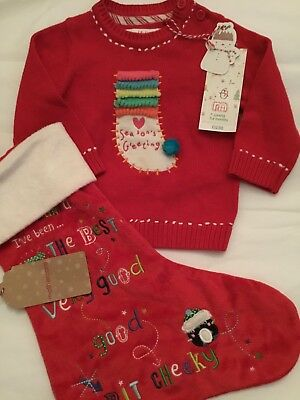 Mothercare Baby Girls Age 3-6 Months Christmas Jumper & Christmas Stocking ☃️