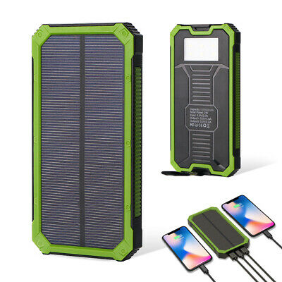 100000mAh Waterproof Solar Power Bank Battery Portable Charger 2USB For Mobile