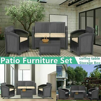 Poly Rattan Sofa & Table Set Garden Furniture Corner Outdoor Conservatory Black
