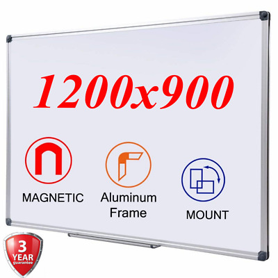 Extra Large Magnetic White Board Dry Wipe Aluminum Frame School Office 1200x900