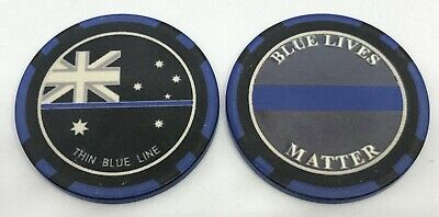 Thin Blue Line Poker Chip #2, TBL, Police, Law Enforcement, 39mm, 1 x Chip