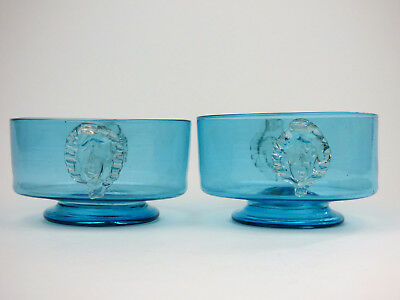 Two sky blue glass bowls with cherubs Murano Venetian antique Salviati Sowerby