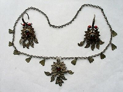 Antique. Handmade (low content silver 35%) Folk Set of Pair Earrings and Necklac