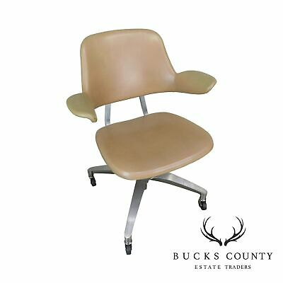 Shaw Waker Mid Century Modern Tan Aluminum Frame Swivel Desk Chair