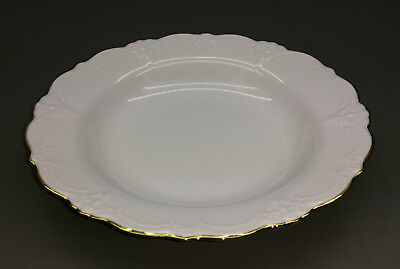 Tirschenreuth Soup Bowl - Baroness - White with Golden Rim - 23,5 cm - Never