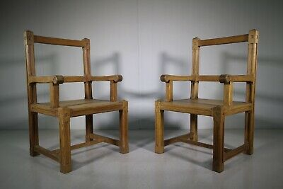 Large Pair of Edwardian Antique Oak Armchairs