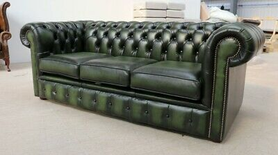 Chesterfield Tufted Buttoned 3 Seater Sofa Couch Real Vintage Green Leather