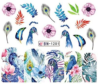 Nail Art Decals Transfers Stickers Blue Peacocks Flowers (BN1201)