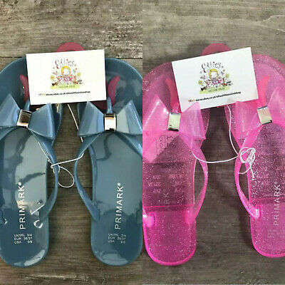 Ladies JELLY FLIP FLOPS Sandals Primark Summer Shoes Womens Bow Flats Holiday