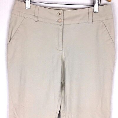 NYC Womens Pants 10 Petite Beige Khaki Stretch Cuffed Flat Front Casual Mid Rise