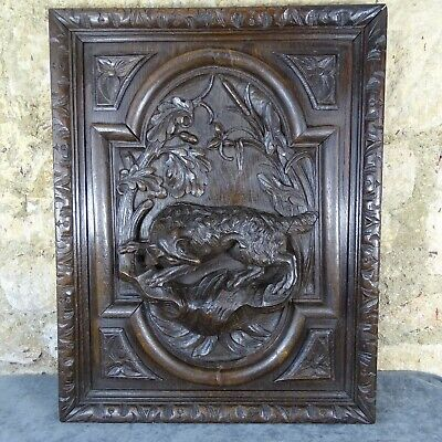 Antique French Deep Carved Oak Wood Door Panel - Hunting Dog Scene