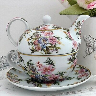 Tea For One Teapot Shabby Vintage Chic Lily China Tea Set Teacup Cup And Saucers