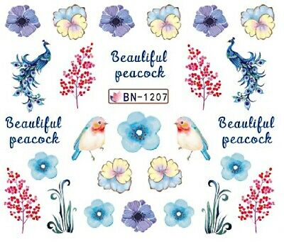 Nail Art Decals Transfers Stickers Peacock Robin (BN1207)